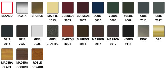 Gama de Colores RAL Mosquiteras correderas