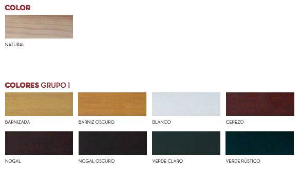 Gama de Colores Persianas Alicantinas de madera