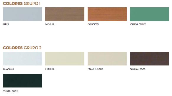 Colores Persianas Alicantina PVC